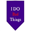 Mirage Pet Products I Do Bad Things  Screen Print Bandana Purple Small