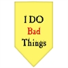 Mirage Pet Products I Do Bad Things  Screen Print Bandana Yellow Large