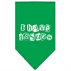 Mirage Pet Products I Have Issues Screen Print Bandana Emerald Green Large