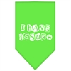 Mirage Pet Products I Have Issues Screen Print Bandana Lime Green Small