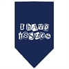 Mirage Pet Products I Have Issues Screen Print Bandana Navy Blue large