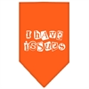 Mirage Pet Products I Have Issues Screen Print Bandana Orange Small