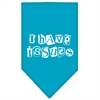 Mirage Pet Products I Have Issues Screen Print Bandana Turquoise Large