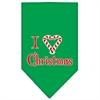 Mirage Pet Products Heart Christmas Screen Print Bandana Emerald Green Small