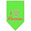 Mirage Pet Products Heart Christmas Screen Print Bandana Lime Green Small