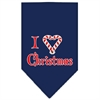 Mirage Pet Products Heart Christmas Screen Print Bandana Navy Blue Small