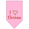 Mirage Pet Products Heart Christmas Screen Print Bandana Light Pink Large