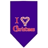 Mirage Pet Products Heart Christmas Screen Print Bandana Purple Large