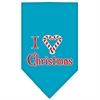 Mirage Pet Products Heart Christmas Screen Print Bandana Turquoise Large