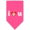 Mirage Pet Products I Love U Screen Print Bandana Bright Pink Large