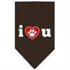 Mirage Pet Products I Love U Screen Print Bandana Cocoa Large