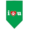 Mirage Pet Products I Love U Screen Print Bandana Emerald Green Small