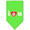 Mirage Pet Products I Love U Screen Print Bandana Lime Green Large