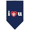Mirage Pet Products I Love U Screen Print Bandana Navy Blue Small