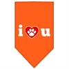 Mirage Pet Products I Love U Screen Print Bandana Orange Large
