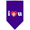 Mirage Pet Products I Love U Screen Print Bandana Purple Small