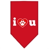 Mirage Pet Products I Love U Screen Print Bandana Red Small