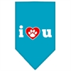 Mirage Pet Products I Love U Screen Print Bandana Turquoise Large
