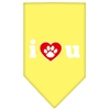 Mirage Pet Products I Love U Screen Print Bandana Yellow Large