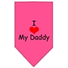 Mirage Pet Products I Heart My Daddy  Screen Print Bandana Bright Pink Small