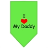 Mirage Pet Products I Heart My Daddy  Screen Print Bandana Lime Green Large