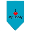 Mirage Pet Products I Heart My Daddy  Screen Print Bandana Turquoise Small