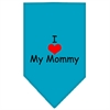 Mirage Pet Products I Heart My Mommy  Screen Print Bandana Turquoise Large