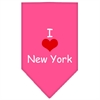 Mirage Pet Products I Heart New York  Screen Print Bandana Bright Pink Large