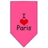 Mirage Pet Products I Heart Paris  Screen Print Bandana Bright Pink Small