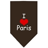 Mirage Pet Products I Heart Paris  Screen Print Bandana Cocoa Small