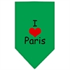 Mirage Pet Products I Heart Paris  Screen Print Bandana Emerald Green Small