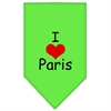 Mirage Pet Products I Heart Paris  Screen Print Bandana Lime Green Small