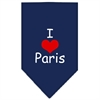Mirage Pet Products I Heart Paris  Screen Print Bandana Navy Blue large