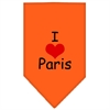 Mirage Pet Products I Heart Paris  Screen Print Bandana Orange Large