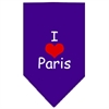 Mirage Pet Products I Heart Paris  Screen Print Bandana Purple Small