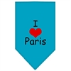 Mirage Pet Products I Heart Paris  Screen Print Bandana Turquoise Large