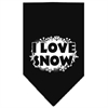 Mirage Pet Products I Love Snow Screen Print Bandana Black Small