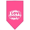 Mirage Pet Products I Love Snow Screen Print Bandana Bright Pink Large