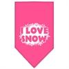 Mirage Pet Products I Love Snow Screen Print Bandana Bright Pink Small