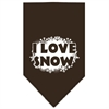 Mirage Pet Products I Love Snow Screen Print Bandana Cocoa Small