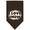 Mirage Pet Products I Love Snow Screen Print Bandana Cocoa Small