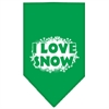 Mirage Pet Products I Love Snow Screen Print Bandana Emerald Green Large
