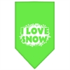 Mirage Pet Products I Love Snow Screen Print Bandana Lime Green Large
