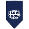 Mirage Pet Products I Love Snow Screen Print Bandana Navy Blue Small