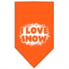 Mirage Pet Products I Love Snow Screen Print Bandana Orange Large