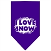 Mirage Pet Products I Love Snow Screen Print Bandana Purple Large