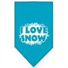 Mirage Pet Products I Love Snow Screen Print Bandana Turquoise Large