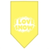 Mirage Pet Products I Love Snow Screen Print Bandana Yellow Large