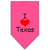 Mirage Pet Products I Heart Texas  Screen Print Bandana Bright Pink Large