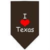 Mirage Pet Products I Heart Texas  Screen Print Bandana Cocoa Large